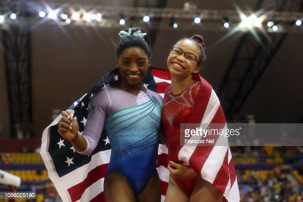 Simone Biles and Morgan Hurd of the United States celebrate after competing during Women's AllAround Final during Day Eight of 2018 FIG Artistic...