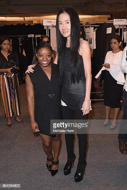 Simone Biles and Vera Wang pose backstage at the Vera Wang Collection fashion Show during New York Fashion Week The Shows at The Arc Skylight at...