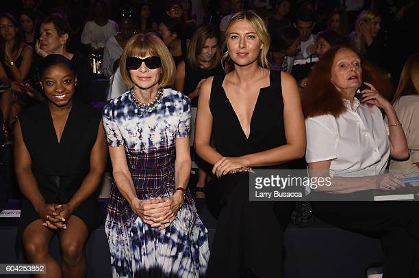 Simone Biles Anna Wintour and Maria Sharapova and Grace Coddington attend the Vera Wang Collection fashion show during New York Fashion Week The...
