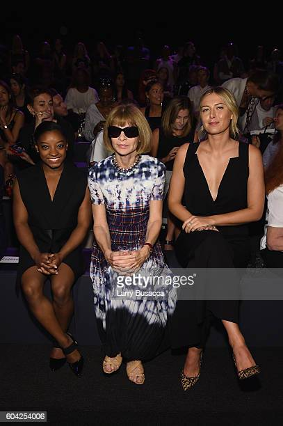 Simone Biles Anna Wintour and Maria Sharapova attend the Vera Wang Collection fashion show during New York Fashion Week The Shows at The Arc Skylight...
