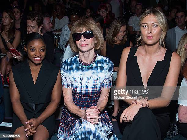Simone Biles Anna Wintour and Maria Sharapova attend the Vera Wang Collection fashion show during September 2016 New York Fashion Week The Shows at...
