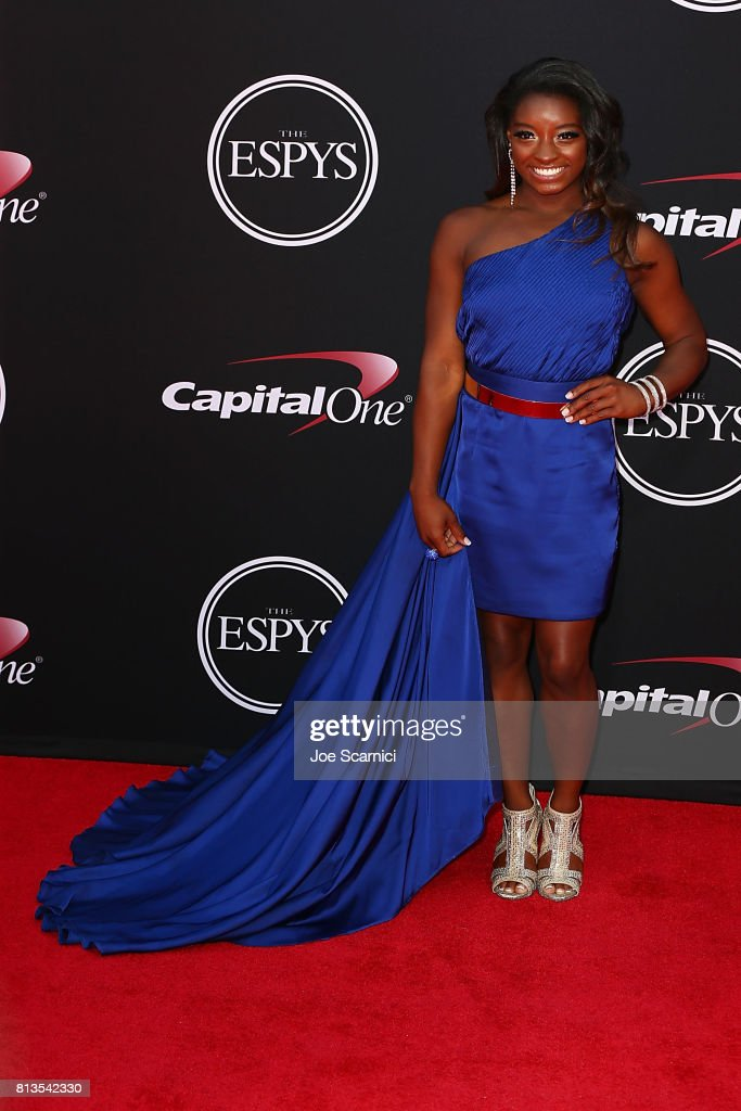 Simone Biles arrives at the 2017 ESPYS at Microsoft Theater on July 12, 2017 in Los Angeles, California.