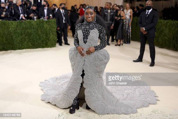 Simone Biles attends The 2021 Met Gala Celebrating In America: A Lexicon Of Fashion at Metropolitan Museum of Art on September 13, 2021 in New York...