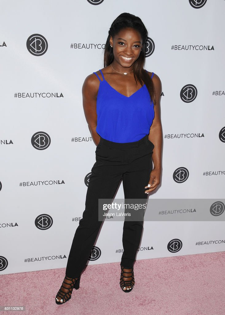 Simone Biles attends the 5th annual Beautycon festival at Los Angeles Convention Center on August 13, 2017 in Los Angeles, California.