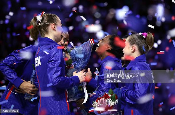 Simone Biles celebrates with Lauren Hernandez MyKayla Skinner Ragan Smith Ashton Locklear Alexandra Raisman Madison Kocian and Gabrielle Douglas...