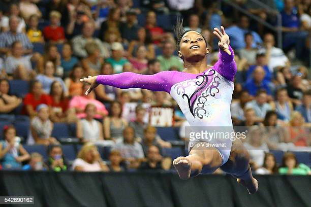 Simone Biles competes in the floor exercise during day one of the 2016 PG Gymnastics Championships at Chafitz Arena on June 24 2016 in St Louis...