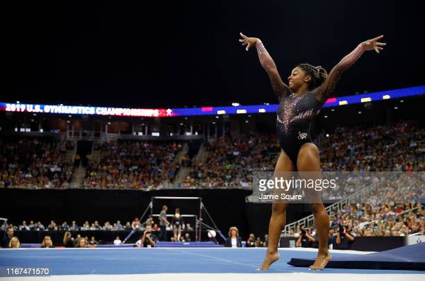 Simone Biles competes on floor exercise during Women's Senior competition of the 2019 U.S. Gymnastics Championships at the Sprint Center on August...
