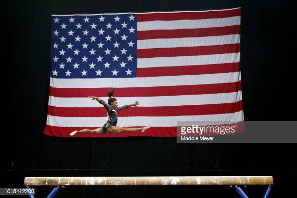 Simone Biles competes on the balance beam during Day 2 of the US Gymnastics Championships 2018 at TD Garden on August 17 2018 in Boston Massachusetts