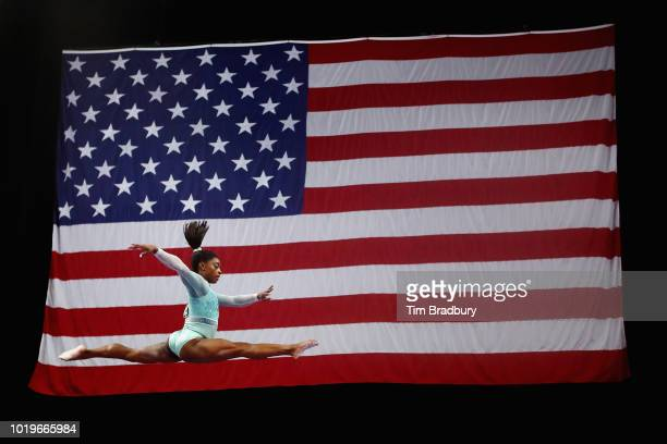 Simone Biles competes on the uneven bars during day four of the US Gymnastics Championships 2018 at TD Garden on August 19 2018 in Boston...