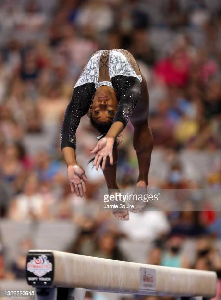 Simone Biles competes on the balance beam during the Senior Women's competition of the U.S. Gymnastics Championships at Dickies Arena on June 06,...
