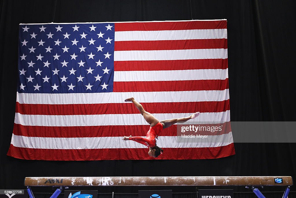 Simone Biles competes on the balance beam during the Sr. Women's 2016 Secret U.S. Classic at the XL Center on June 4, 2016 in Hartford, Connecticut.