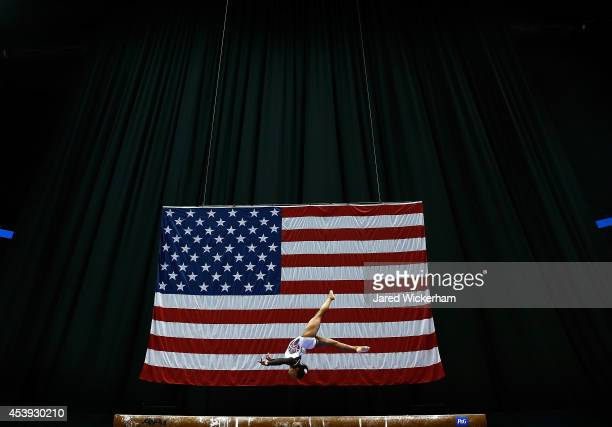 Simone Biles competes on the balance beam section of the senior women preliminaries during the 2014 PG Gymnastics Championships at Consol Energy...