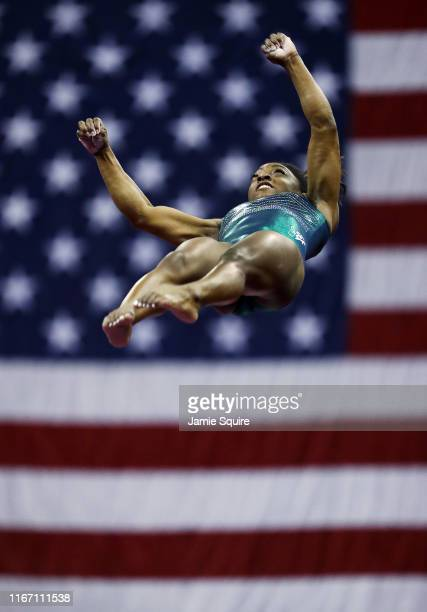 Simone Biles competes on the vault during the Senior Women's competition of the 2019 U.S. Gymnastics Championships at the Sprint Center on August 09,...