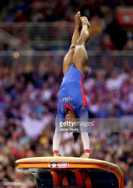 Simone Biles competes on the vault during the Women's competition of the 2021 U.S. Gymnastics Olympic Trials at America's Center on June 25, 2021 in...