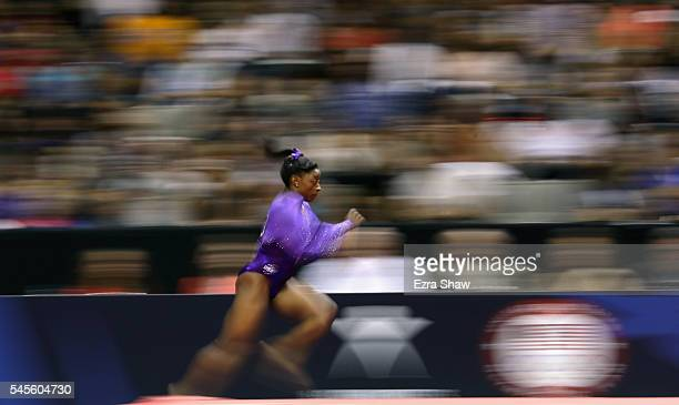 Simone Biles is competes in the vault during Day 1 of the 2016 US Women's Gymnastics Olympic Trials at SAP Center on July 8 2016 in San Jose...