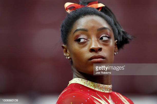 Simone Biles looks on prior to the 2018 US Classic gymnastics seniors event at Jerome Schottenstein Center on July 28 2018 in Columbus Ohio