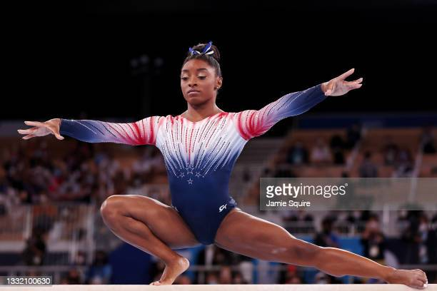 Simone Biles of Team United States competes in the Women's Balance Beam Final on day eleven of the Tokyo 2020 Olympic Games at Ariake Gymnastics...