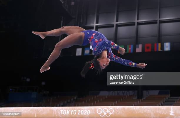 Simone Biles of Team United States competes on balance beam on day two of the Tokyo 2020 Olympic Games at Ariake Gymnastics Centre on July 25, 2021...