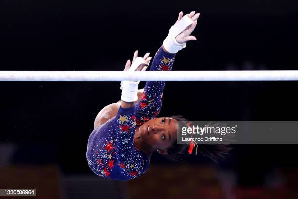 Simone Biles of Team United States competes on uneven bars during Women's Qualification on day two of the Tokyo 2020 Olympic Games at Ariake...