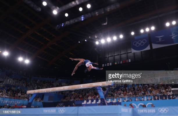 Simone Biles of Team United States in action during the Women's Balance Beam Final on day eleven of the Tokyo 2020 Olympic Games at Ariake Gymnastics...