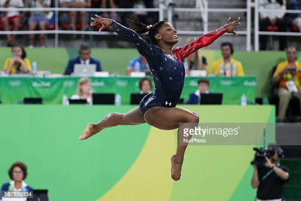 Simone Biles of the United States acts during women's qualification match of floor exercise of Artistic Gymnastics at the 2016 Rio Olympic Games in...