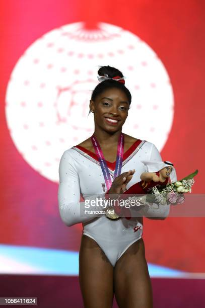 Simone Biles of The United States celebrates her gold medal in the Vault exercise during day nine of the 2018 FIG Artistic Gymnastics Championships...