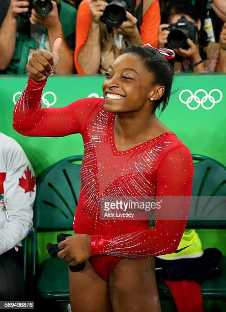 Simone Biles of the United States celebrates winning the gold medal in the Women's Vault Final on Day 9 of the Rio 2016 Olympic Games at the Rio...