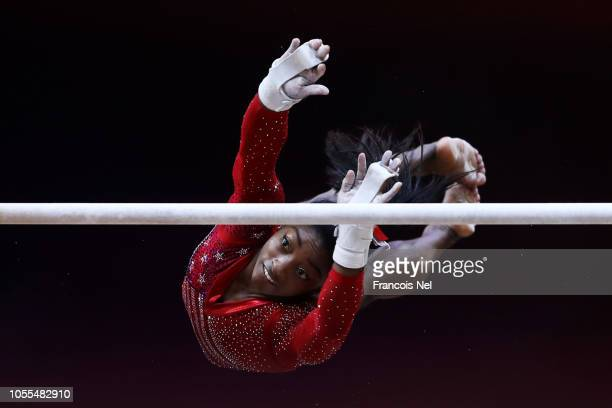 Simone Biles of The United States competes during the Uneven bars during the Women's team final during day six of the 2018 FIG Artistic Gymnastics...