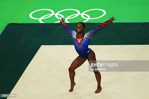 Simone Biles of the United States competes during the Women's Floor Final at Rio Olympic Arena on August 16 2016 in Rio de Janeiro Brazil