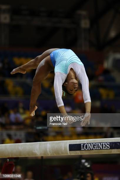 Simone Biles of the United States competes in Balance Beam during Women's AllAround Final during Day Eight of 2018 FIG Artistic Gymnastics...