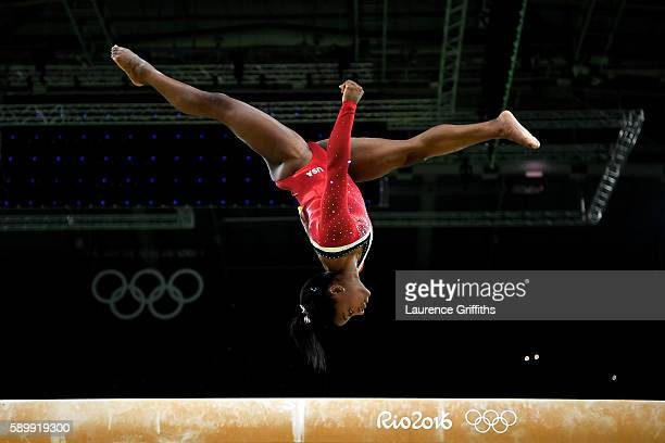 Simone Biles of the United States competes in the Balance Beam Final on day 10 of the Rio 2016 Olympic Games at Rio Olympic Arena on August 15, 2016...
