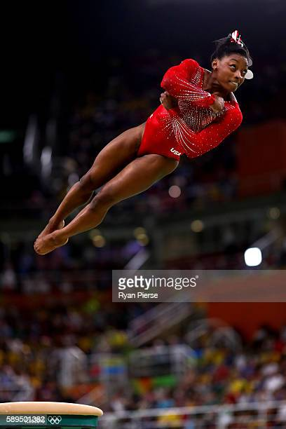 Simone Biles of the United States competes in the Women's Vault Final on Day 9 of the Rio 2016 Olympic Games at the Rio Olympic Arena on August 14...