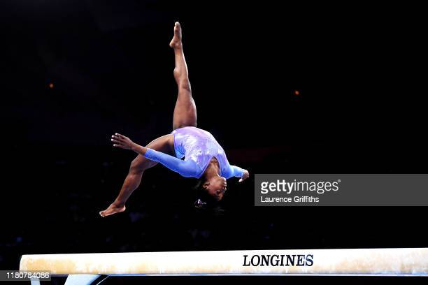 Simone Biles of The United States competes in Women's Balance beam Final during day 10 of the 49th FIG Artistic Gymnastics World Championships at...