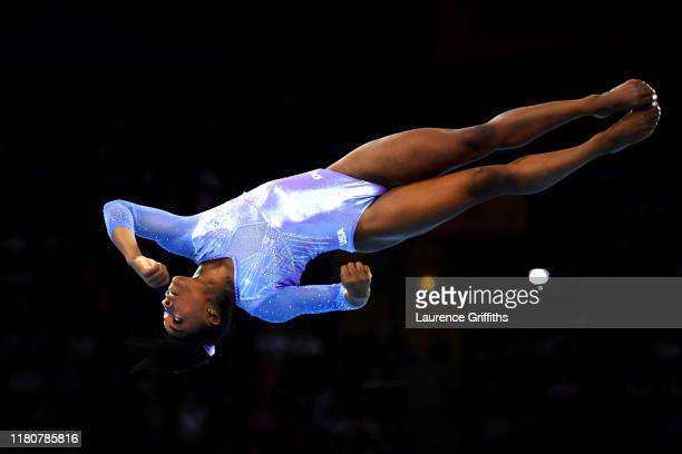 Simone Biles of The United States competes in Women's Floor Final during day 10 of the 49th FIG Artistic Gymnastics World Championships at...