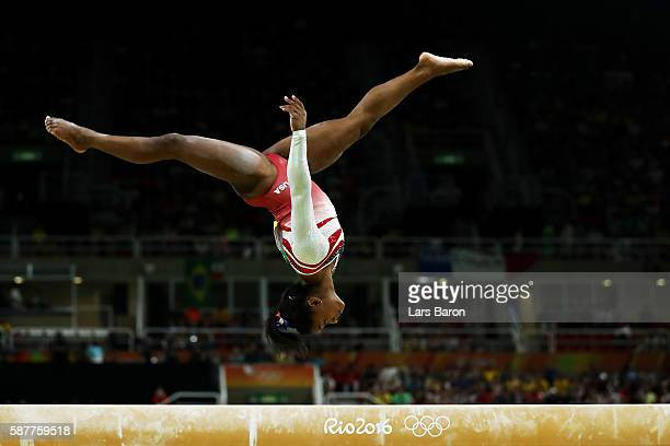Simone Biles of the United States competes on the balance beam during the Artistic Gymnastics Women's Team Final on Day 4 of the Rio 2016 Olympic...