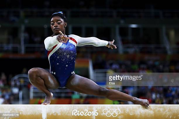 Simone Biles of the United States competes on the balance beam during the Women's Individual All Around Final on Day 6 of the 2016 Rio Olympics at...