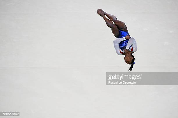 Simone Biles of the United States competes on the floor during the Women's Individual All Around Final on Day 6 of the 2016 Rio Olympics at Rio...