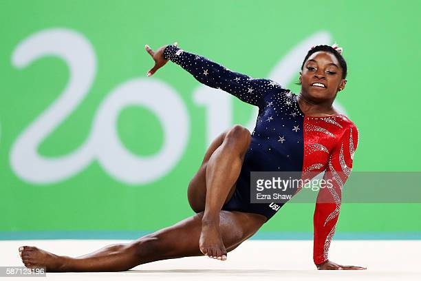 Simone Biles of the United States competes on the floor during Women's qualification for Artistic Gymnastics on Day 2 of the Rio 2016 Olympic Games...