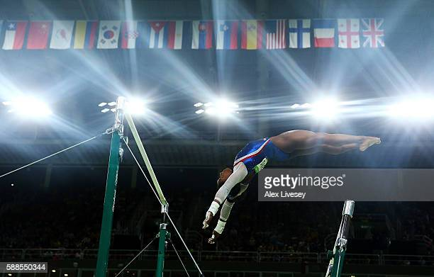 Simone Biles of the United States competes on the uneven bars during the Women's Individual All Around Final on Day 6 of the 2016 Rio Olympics at Rio...
