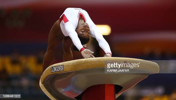 Simone Biles of the United States competes on the Vault during day nine of the 2018 FIG Artistic Gymnastics Championships at the Aspire Dome on...