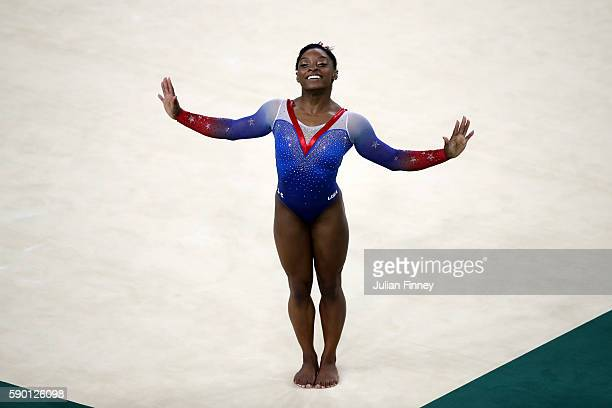 Simone Biles of the United States competes on the Women's Floor final on Day 11 of the Rio 2016 Olympic Games at the Rio Olympic Arena on August 16,...