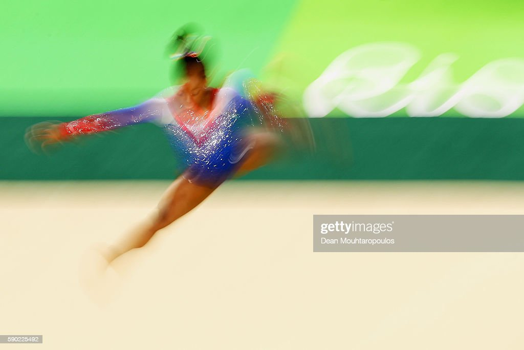 Simone Biles of the United States competes on the Women's Floor final on Day 11 of the Rio 2016 Olympic Games at the Rio Olympic Arena on August 16, 2016 in Rio de Janeiro, Brazil.