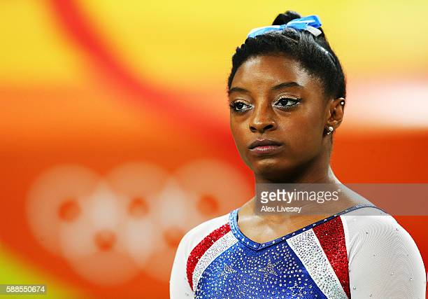 Simone Biles of the United States is seen prior to the Women's Individual All Around Final on Day 6 of the 2016 Rio Olympics at Rio Olympic Arena on...