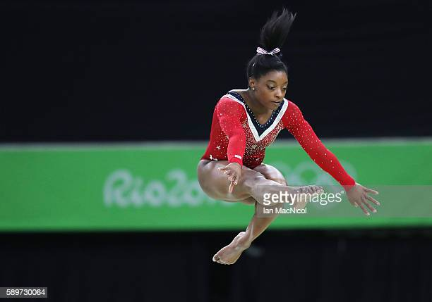 Simone Biles of the United States performs in the Final of The Beam at Rio Olympic Arena on August 15 2016 in Rio de Janeiro Brazil