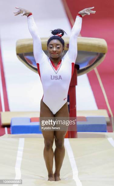 Simone Biles of the United States performs in the final of the women's vault at the world gymnastics championships in Doha on Nov 2 2018 She won the...