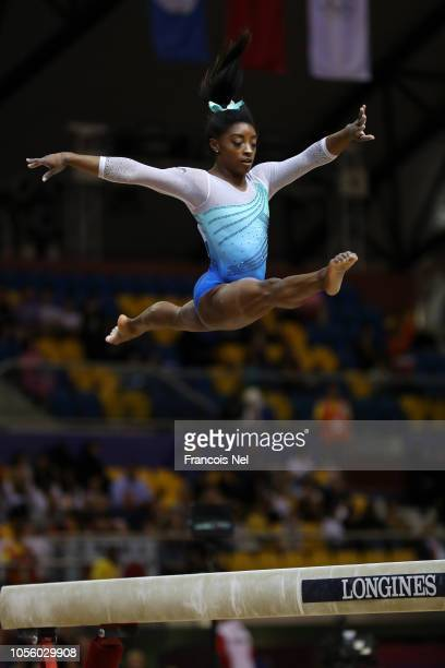 Simone Biles of United States competes in Balance Beam during Women's AllAround final during Day Eight of 2018 FIG Artistic Gymnastics Championships...