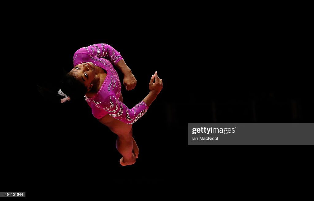Simone Biles of United States competes on the Vault during day Two of the 2015 World Artistic Gymnastics Championships at The SSE Hydro on October 24, 2015 in Glasgow, Scotland.