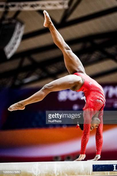 Simone Biles of  United States during Balancing Beam Team final for Women at the Aspire Dome in Doha Qatar Artistic FIG Gymnastics World...