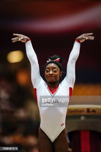 Simone Biles of  United States during Vault for Women at the Aspire Dome in Doha Qatar Artistic FIG Gymnastics World Championships on 2 of November...