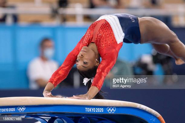 Simone Biles of United States of America competing on Women's Team Final during the Tokyo 2020 Olympic Games at the Ariake Gymnastics Centre on July...